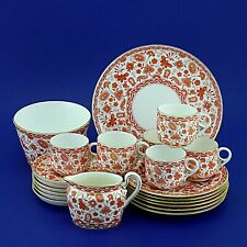 Six Antique Crown Derby Wilmot Rust Coffee Set & Cake Plate(1880/90s) 21 Pieces