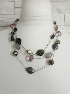 M&S Multi Strand Necklace Triple Chain Pink/Black/Silver Beads Jewellery