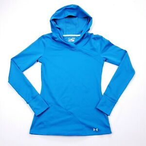 Under Armour Coldgear Infrared Women's Bright Blue Fitted Hooded Top Sz M