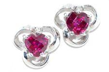 1 Carat Ruby Heart & Diamond Stud Earrings .925 Sterling Silver