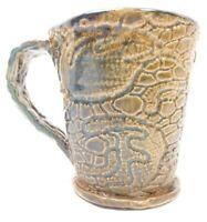 ART POTTERY COFFEE CUP MUG TAN BLUE DRIP GLAZE UNDERWATER SEA TURTLE BY TERRY