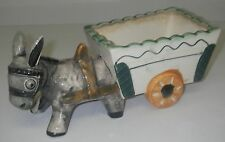Made in Japan Art Pottery Ceramic Planter Donkey pulling Wagon Cart 9¾� Marked.