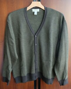 Orvis Wool Cardigan V-Neck Sweater XXL Green Bird's Eye