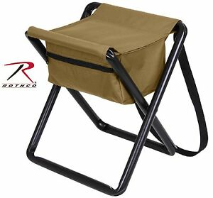 Rothco Coyote Brown Aluminum Camping Hunting & Outdoor Folding Stool & Pouch