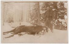 ALASKA HUNTING RPPC RP Real Photo Postcard MOOSE Hunter ALASKAN Wilderness