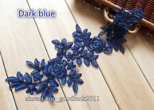 2PC, Applique Embroidery Flower Lace Trim Sewing Dress Embellishments Craft FL24
