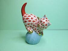 Herend cute Cat Rusty Fishnet Mischievous Cat Kitten on Yarn Ball 24K Gold Trim