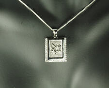 925 Sterling Silver Muslim Allah Islamic Necklace CZ Pendant  34 Stones ♛3CT♛WE