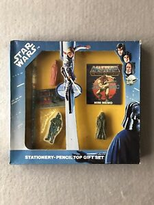 Rare Recalled Star Wars Stationery Pencil Top Gift Set 1983 Inc Boba Fett Rubber