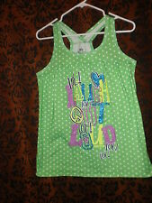 Justice, girl's green polka-dot w/ LOL, tank style sleep top, sz 20 (sz L?)