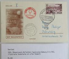 1953 Saarland Ballonfahrt Saarbrücken Homburg Stempel a/ Sonderkarte Ballonpost