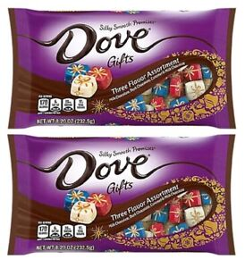 2 - DOVE Gifts THREE FLAVOR Assorted CHOCOLATES CARAMEL wrapped 8.2oz BB-08/2021