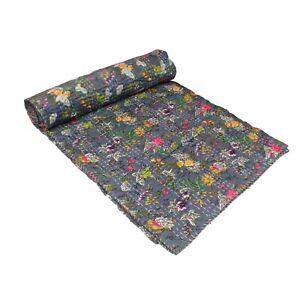 Indian Cotton Kantha Quilt Throw Blanket Bedspread Vintage Throw Hand Block.