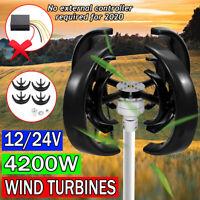 4200W 4 Lames Automatique au Vent Lanterne Turbine Générateur Vertical Axes Noir