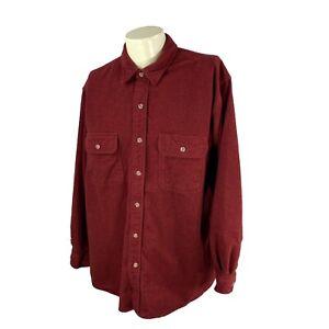 Field & Stream Men's Button Front Long Sleeve Chamois Cloth Red Shirt XL