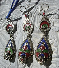 Moroccan enamel hand made earrings and pendant with blue tie set