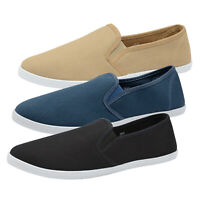 Dunlop Mens Gary Canvas Trainers Classic Slip On Beach Summer Plimsoll Shoes