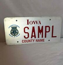 """Iowa State """"SAMPL"""" License Plate Congressional Medal of Honor Emblem White & Red"""