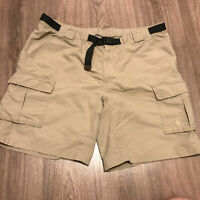 The North Face Men's XXL Belted Hiking Khaki Nylon Shorts Flawed