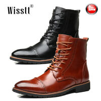 Men Zip Up Waterproof Leather Work Martin Boots Carved Desert Casual Ankle Shoes