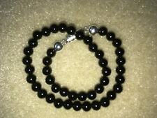 "8"" 4mm natural onyx and 925 silver bead bracelet.  magnetic clasp"