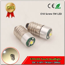 1x LED DC 3-18 Volt Miniature Screw (E10) LED Torch Light Bulb Color White 200lm