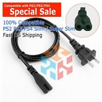 US 2-Prong Port AC Power Cord Cable for PS2 PS3 Slim PS4 Laptops Printers