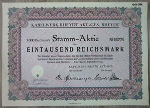 Aktie, Kabelwerke Rheydt Akt GES, rheydt 1941, (Art.3190)