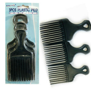 3 Afro Comb Hair Pick Black Pik Wide Teeth Pick Lift Styling Comb Curly Salon