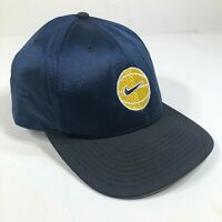 Vintage Nike Basketball Snapback Hat Cap Navy Blue Black Swoosh Satin USA Made