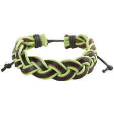Braided Leather & Cord Men's Surf Bracelet In Green & Brown