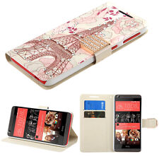For htc Desire 626 626S WHITE PINK TOWER DIAMOND WALLET COVER CASE + SCREEN FILM