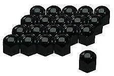 Black High Gloss Stainless Steel Wheel Nut Covers 17mm fits PEUGEOT