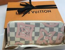 100%Auth New Louis Vuitton Damier Azur Tahitienne Rose Clemence Zip Zippy Wallet