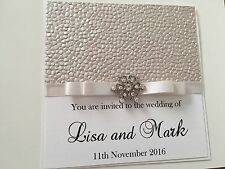 Personalised Luxury Crystal Wedding Invitations - Any Colour