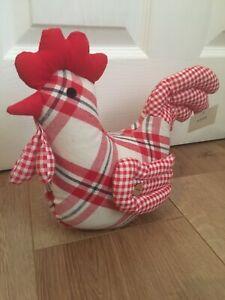 NEW Red Check Chicken Hen Door Stop BNWT Christmas Gift Present Home Kitchen