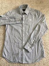 G-star raw mens grey pattered long sleeve button down dress shirt size M