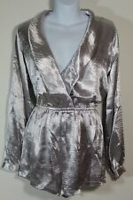 New Wetseal Small Shiny Silver Shorts Romper Long Sleeve Metallic (40)