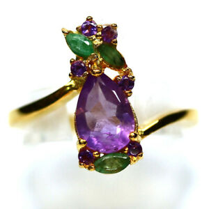 NATURAL PURPLE AMETHYST & GREEN EMERALD RING 925 STERLING SILVER SIZE7.75