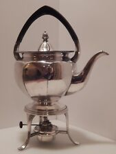 Harrods London England Silverplate Teapot Tea Pot with Stand, Burner with Wick