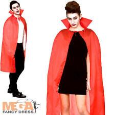 Capa Roja Con Cuello Mens damas Sofisticado Vestido Halloween Disfraz Accesorio Adultos