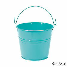 METAL Turquoise PAILS BUCKETS NEW (LOT OF 12) HUGE LOT