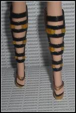 SHOES BARBIE MODEL MUSE 2010 JAPAN DOLL GOLD BLACK FAUX BUCKLE HIGH HEEL SANDALS