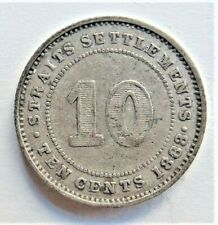 1883 STRAITS SETTLEMENTS Victoria 10 Cents, grading Abt VERY FINE. Rare Key date