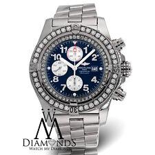 Diamond Breitling Super Avenger A13370 Blue Face Diamond Bezel Authentic Watch