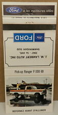 FORD DEALER PROMO F 100 69 PICKUP TRUCK 1969 RANGER F100 CANADA MATCH BOOK COVER