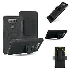 For LG G6 / G6+ / G6 Plus, Belt Clip Hybrid Tough Case +Tempered Glass Protector