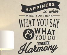Happiness Is When What You Think What You Say And Wall Decal Vinyl Art IN79B