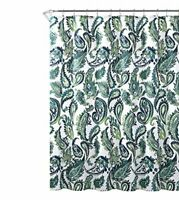 "Blue Green Fabric Shower Curtain: Watercolor Floral Paisley Design, 72"" x 72"""
