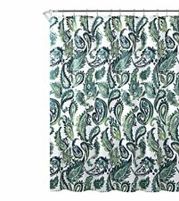 """Blue Green Fabric Shower Curtain: Watercolor Floral Paisley Design, 72"""" x 72"""""""